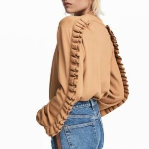 H&M Beige Ruffled Sleeve Knit Crewneck Sweater